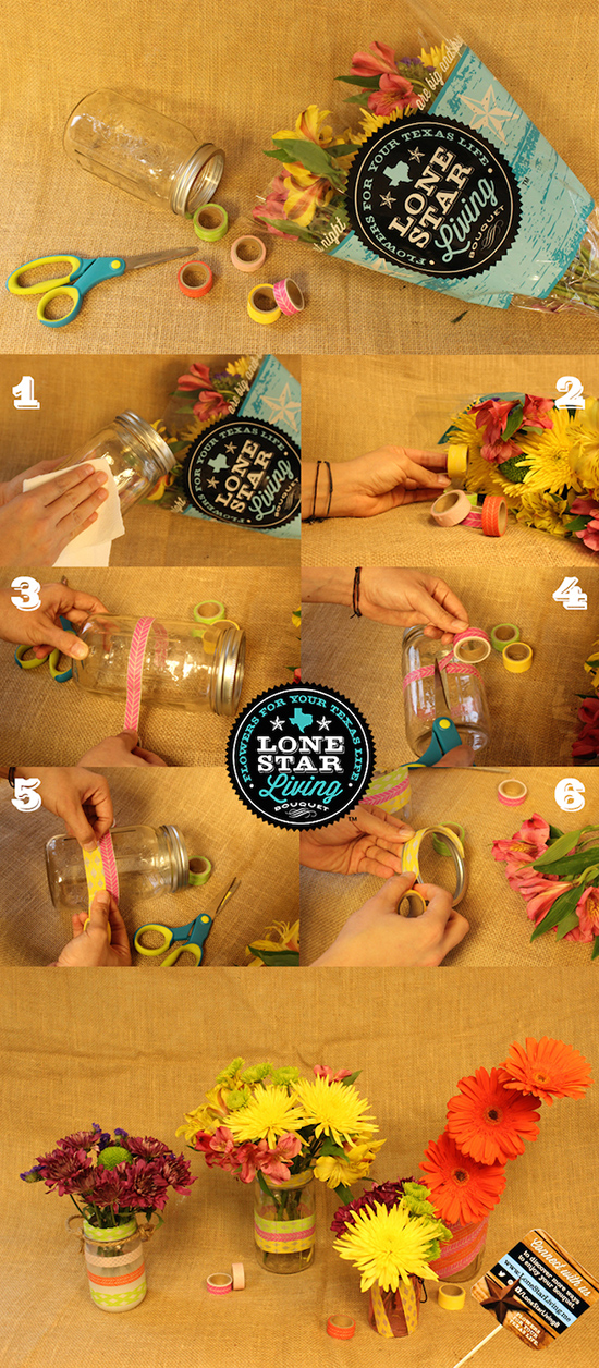 DIY idea using fresh flowers and multiple mason jar designs to create one look. Great idea for parties or for a gift.