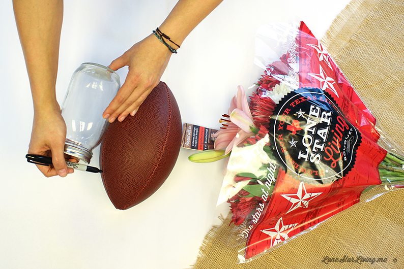 Flower arrangement hack for your Super Bowl Party