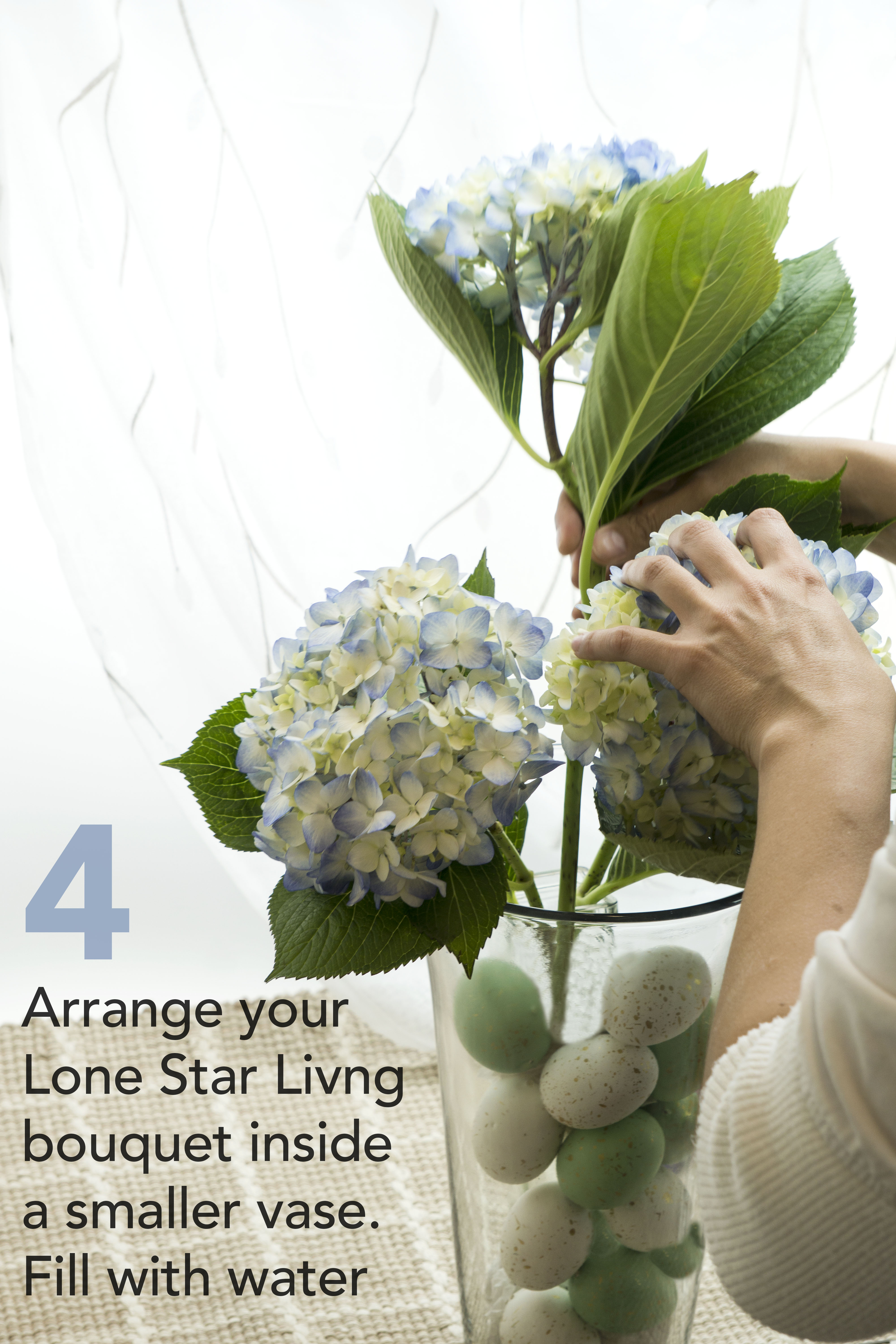 Lone Star Living Spring DIY Easter Centerpiece with Hydrangeas