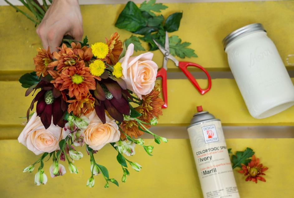 Create a Fall DIY Mason Jar Flower Arrangement